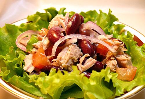 салат из тунца консервированного с фасолью рецепт